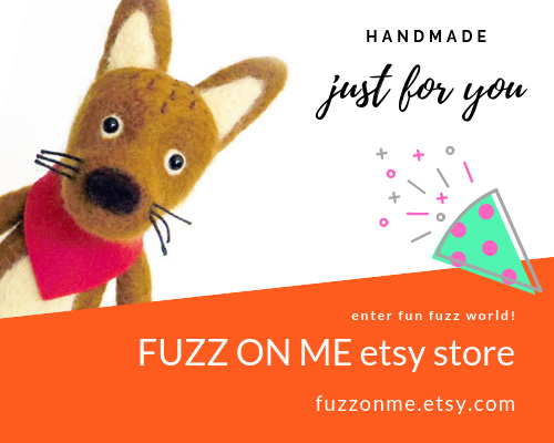 fuzzonme etsy store original design handmade needle felted ornaments, garlands, brooches, 100% wool pincushions and more!