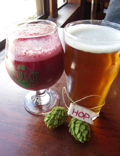 Black Currant Sour & South Gate IPA with fuzz on me felt hop ornament